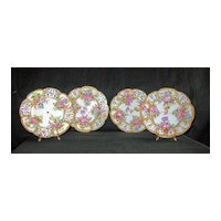 Four Gorgeous Antique dessert plates by Choisy-le-Roi in France: C. 1790's