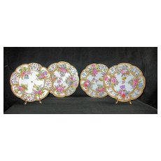 Four Gorgeous Antique dessert plates by Choisy-le-Roi in France: C. 1790's