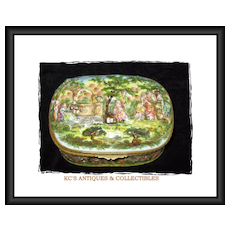 Rare, Large Capodimonte 19th Century Porcelain Bas-relief Casket with Bronze Dore