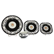 """Gorgeous """"Rhapsody"""" set of dishes by George Jones & Sons of England. Pre-1921"""