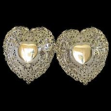 Pair Gorham Sterling Heart Shaped Bonbon Dish; Pattern 966