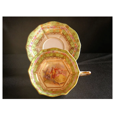 """Footed Demitasse Cup & Saucer by Ackermann & Fritze with """"court"""" scene"""