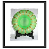 Small Green Opaline Uranium Glass Compote with Gorgeous Gilding
