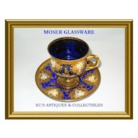 Stunning Deep Cobalt Blue Glass Bohemian cup and saucer heavily decorated