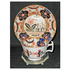 Rare Antique Colorful Cup & Saucer by Charles Bourne; Circa 1820