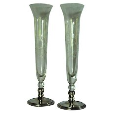 Pair of Vintage Sterling and Etched Glass Bud Vases