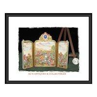 Rare CapodiMonte Miniature Folding Porcelain Screen with Bas-relief Country Scene