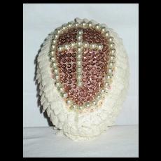 Large Handmade Decorated Styrofoam Egg with Cross