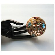 Vintage Colorful Brooch covered in Sparkling Rhinestones