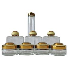 Set of Eight Art Deco Dresser Bottles with Enamel Lids