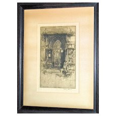 Priory Church of St. Bartholomew –The-Great an Etching by Hedley Fitton