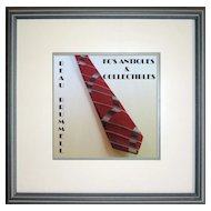 WIDE Necktie by Mr. John Beau Brummell, Burgundy Red with Angled Gray & White Stripes
