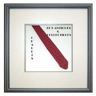 Vintage Skinny Red Necktie with Black Paisley Motif