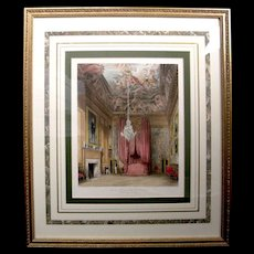 Antique 1819 English Engraving Pyne Royal Residences Queen Bedchamber