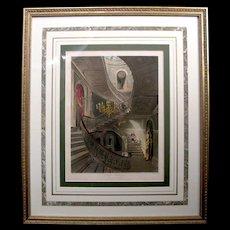 Antique 1819 English Engraving Pyne Royal Residences Grand Staircase Carlton House