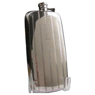 Art Deco Gorham Sterling Hip Flask 1 Pint Big! HHK Monogram