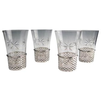 """4 Sterling Silver Openwork 4"""" Tumblers w. Cut Glass Inserts Mayo Co. Chicago 1900"""