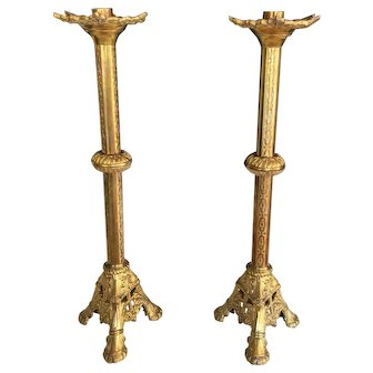 "Vintage Pr Tall Ecclesiastical Cast Brass Church Candlesticks 18"" Gilt Finish"
