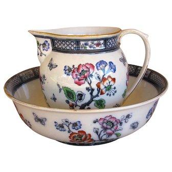 "Antique Wash Bowl & Pitcher w. Butterflies ""Springfield"" Blue Losol Ware, England"