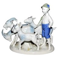 Gerold Porcelain Goat & Ram Herder Figurine Bavaria West Germany