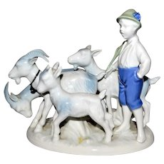Gerold Porcelain Goat & Ram Herder Figurine Bavaria West Germany