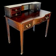 Mahogany Hepplewhite Desk with Marquetry and Mother of Pearl
