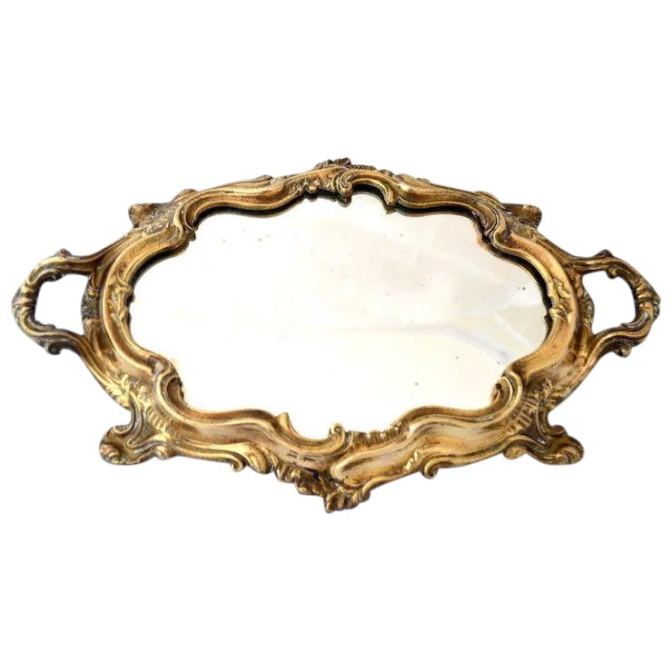 French Louis Xv Rococo Style Gold Gilt Mirror Plateau Tray