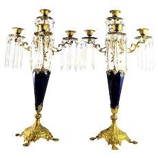 Antique Brass Candelabras Five Arm Cobalt Blue Stem Pair