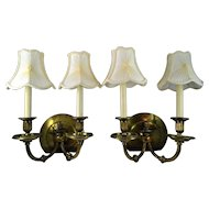 Antique Bronze Pair Gas Light Sconces Double Candlestick