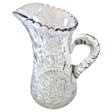Antique Cut Glass Crystal Pitcher