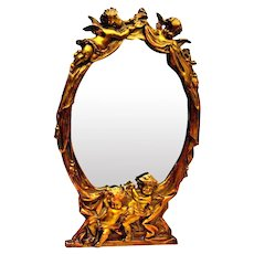 Antique French Gilded Bronze Mirror Angels