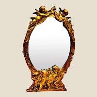 Antique French Mirror with Cherubs Gilt Gold