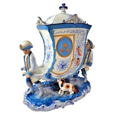 Antique French Porcelain Coach Figural Group