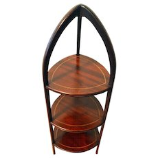 Antique Mahogany Muffin Stand Line Inlay