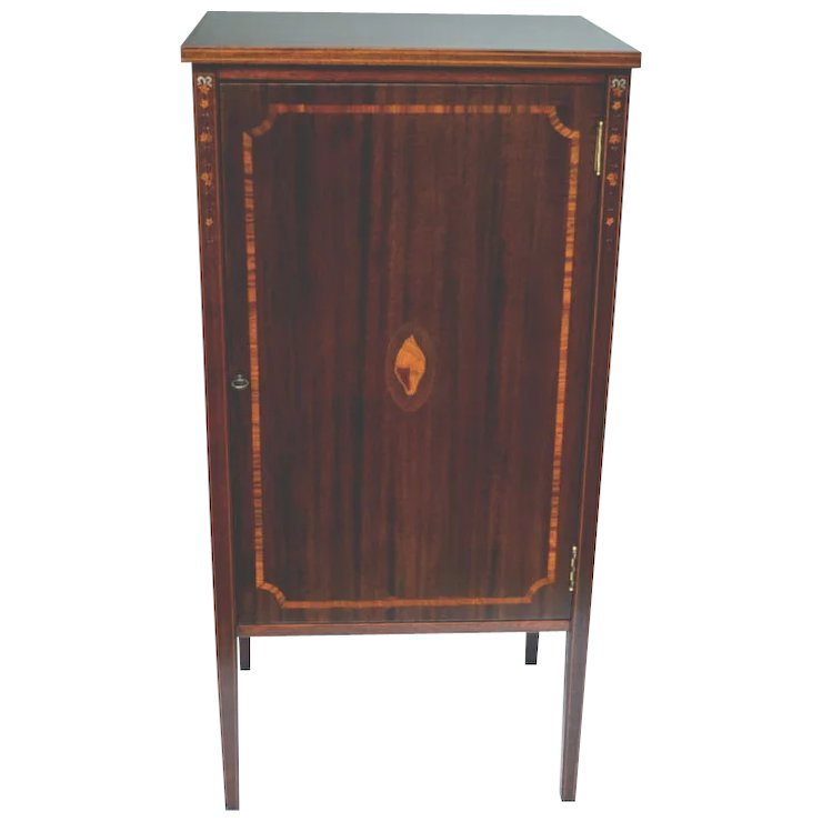 Antique Mahogany Music Cabinet, Pearl and Satinwood Marquetry 1900 - Antique Mahogany Music Cabinet, Pearl And Satinwood Marquetry 1900