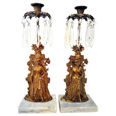 Antique Pair Candelabra Girandole Candle Holder