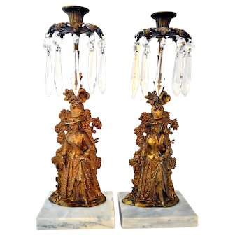 Antique Pair Candelabra Girandole Candle Holder