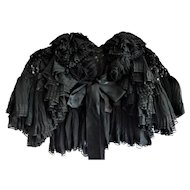 Antique Victorian Black Beaded Silk and Lace Cape Capelet