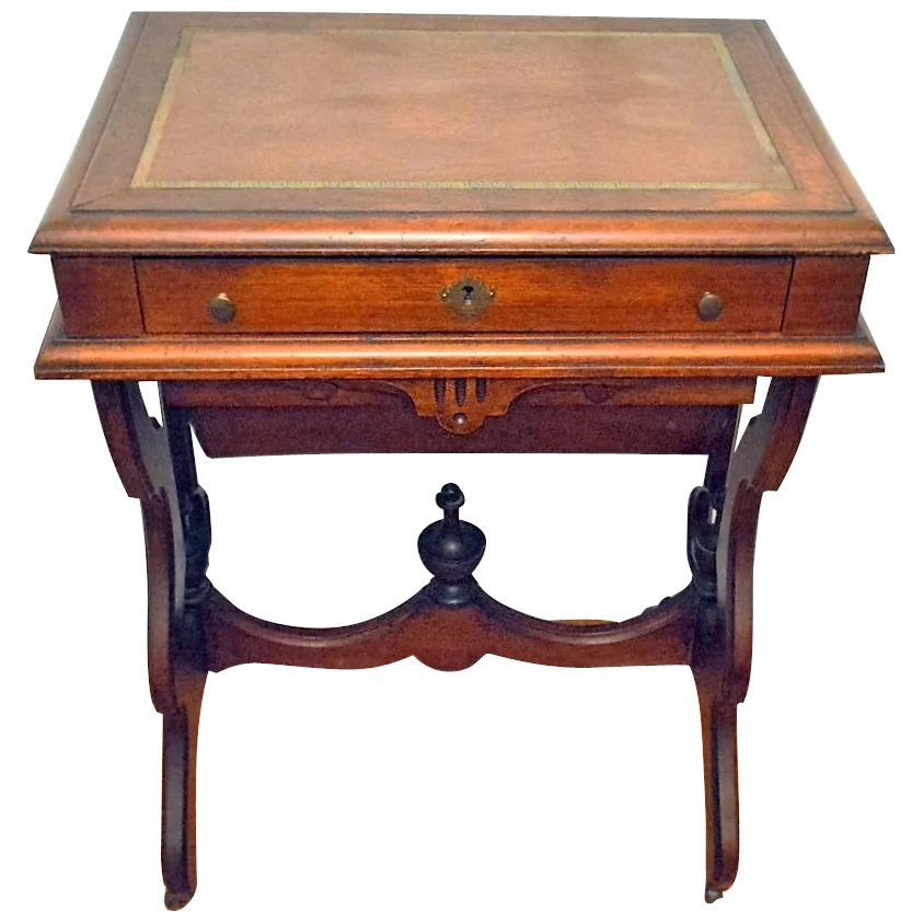 Antique Walnut Victorian Sewing Work Stand Desk 1875 To Expand