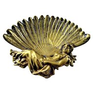 Art Nouveau Lady Brass Calling Card Pin Tray
