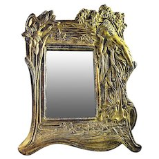 Art Nouveau Table Mirror Cast and Gilded Figural Maiden