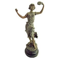 "Antique Art Nouveau Spelter Metal Statue of Lady Holding Tambourine  16 1/2"" Signed"