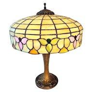 Art Nouveau Slag Glass Table Lamp with Flowers