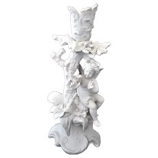 Bisque Candle Holder Angel and Bird Figurine