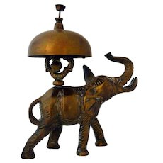Antique Brass Bell Elephant Hotel Desk Service Bell