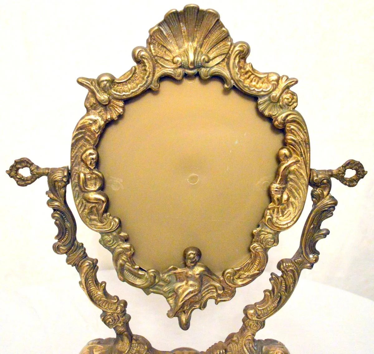 Brass Picture Frame Art Nouveau With Cherubs And Shell