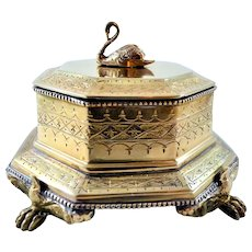 Brass Trinket Box Mottahedeh Swan Finial Paw Feet