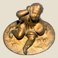 Bronze Victorian Statuette:  Little Boy With hid Drum Late 19th Century
