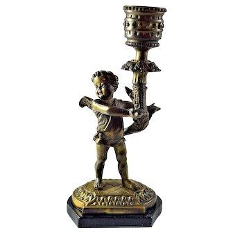 Bronze Cherub Angel Candle Holder Marble Base
