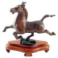 Bronze Galloping Horse on a Swallow Statue